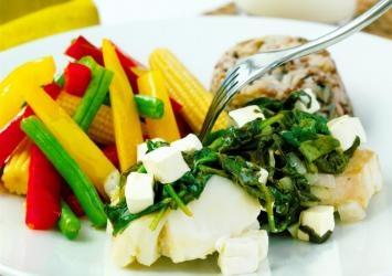 Torsk med fetaost og spinat!