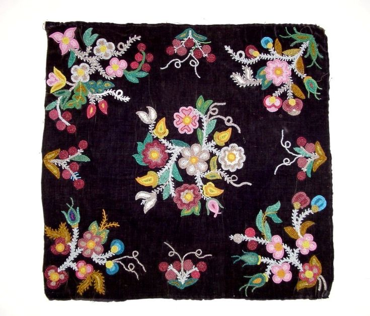 Canadian Subarctic panel, probably Cree or Cree-Métis, late 19th century. Beaded on black velvet, sinew threaded, commercial thread couched. Backed with canvas.