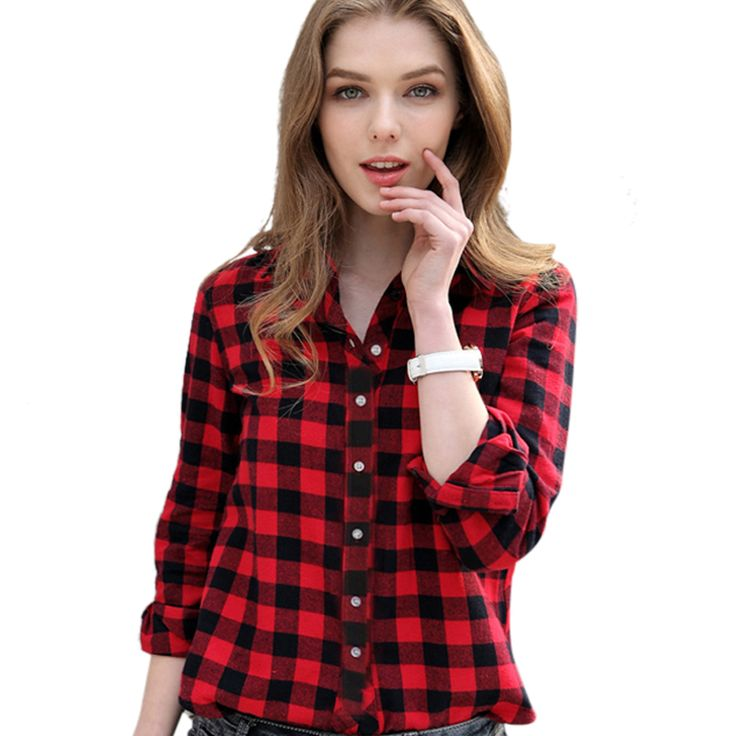 Red Plaid Shirt Women Tops New Arrival 2016 Spring Autumn Cotton Casual Long Sleeve Plus Size Ladies Blouses Clothing