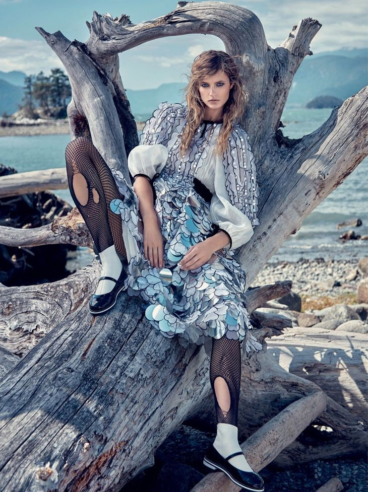 Kate Bock wears heavy coats and scarves stars in Dress to Kill Magazine winter 2015 issue Photoshoot