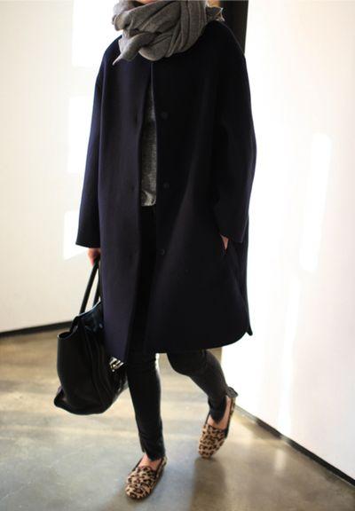 Oversized jacket and scarf. Oversized yet feminine look.