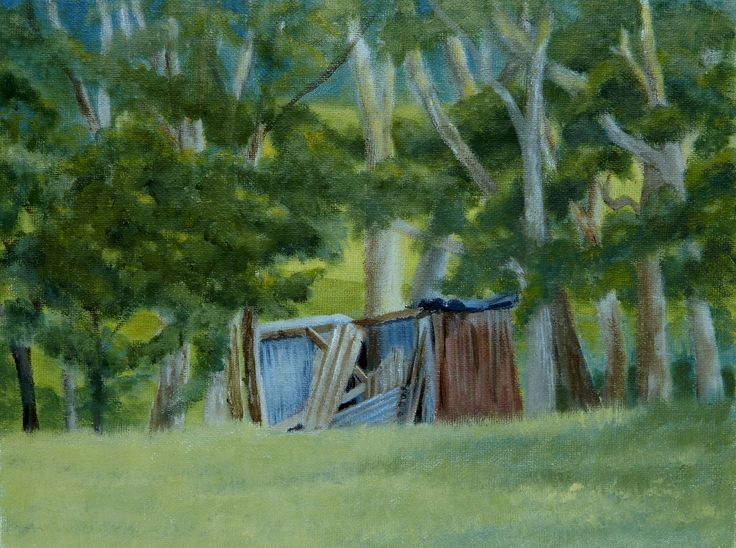 Subsiding shed 3. A slowly collapsing shed in South Australia. Acrylic on canvas board 25 x 20cm