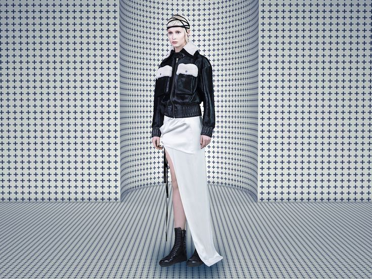 #SIMONGAO #AW #2015 #Collecting #MariaBlanchett #designer #dark #top #fashion #vogue #trend #design #chic #brand #black #show #wear #beauty #accesory #gothic #art #culture #cosmos #energy #tech #mystery #spiffy #gradient #oriental #cutting #lines #elegant #BomberJacket #Skirt #white #black #BabyCowhair