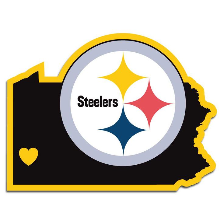 Description: It's a home state decal with a sporty twist! This Pittsburgh Steelers decal feature the team logo over a silhouette of the state in team colors and a heart marking the home of the team. T