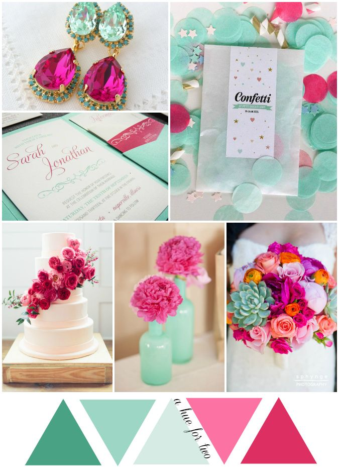 Mint and Hot Pink Wedding Colour Scheme - Wedding Colors - Wedding Planning - A Hue For Two | www.ahuefortwo.com