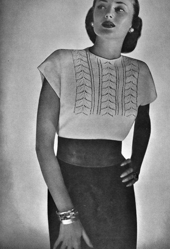 Vintage Knitting Pattern Blouse with Lacy Leaf by Dazespast