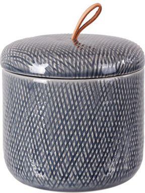 ELEGANT Burk m Lock Keramik/Läder 12x12,5 gråblå