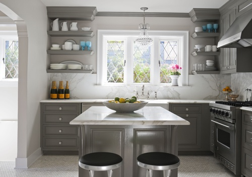 gray cabinets, marble backsplash and countertops: Maison Luxe, Gray Kitchen Cabinets, Open Shelves, Paintings Colors, Small Kitchens, Grey Cabinets, Grey Kitchens, Gray Cabinets, Gray Kitchens Cabinets