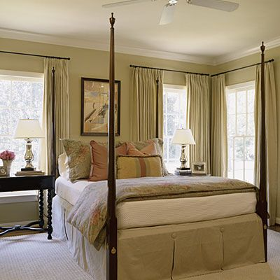 Classic Elegance    The timeless look of a four-poster bed and barley twist side table give the room a classic feel that will hold up well as time passes. (Southern Living)