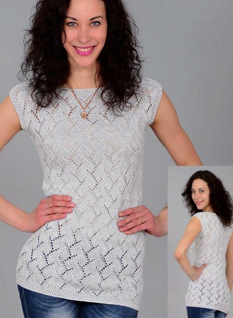 Отличная идея для женского гардероба - простой топ спицами с ажурным узором. Спинка и перед вяжутся одинаково, полотна сшиваются и обвязываются.