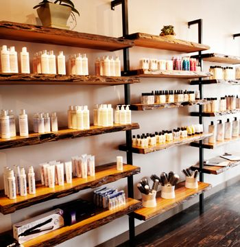 : Hawthorn Salon. organic shelving