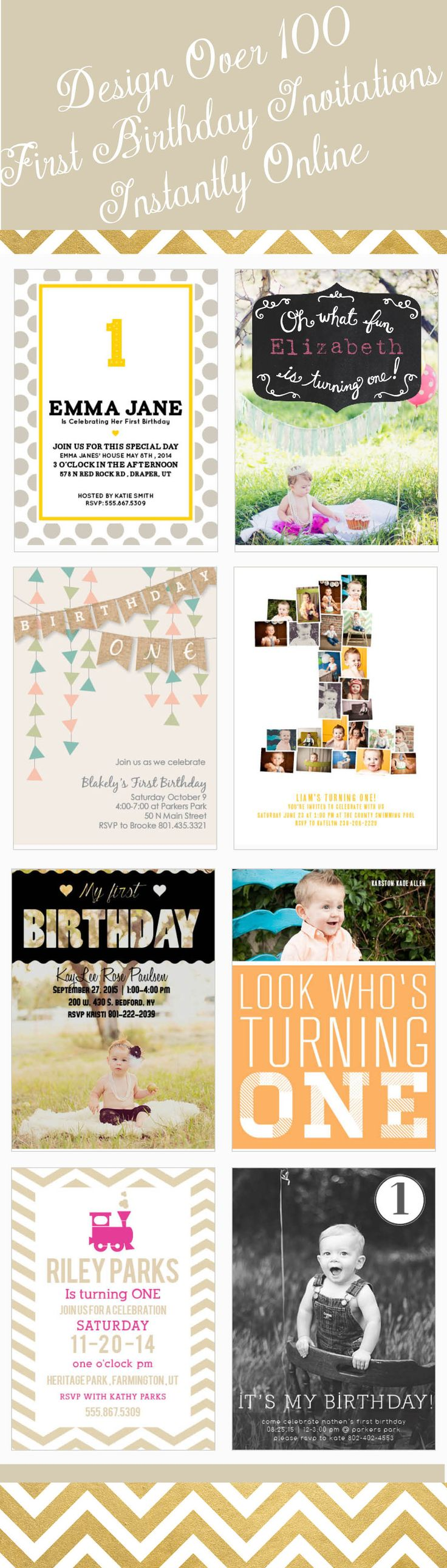 Completely customize each first birthday invitation with your color choices as well as with your most adorable photos. Make sure it is perfect with real-time online previews.