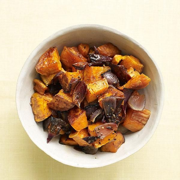 Instead of a creamy potato salad packed with fat, our sweet potato version keeps it light and fresh. Makes a great side dish for summer BBQ food!