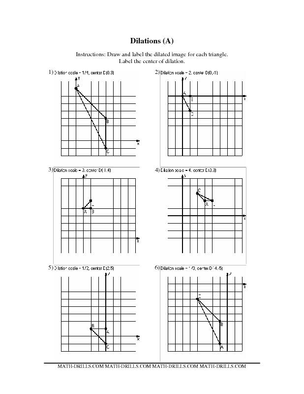 geometry worksheet dilations dilations geometry worksheets geometry math drills. Black Bedroom Furniture Sets. Home Design Ideas