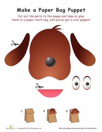 Worksheets: Dog Paper Bag Puppet