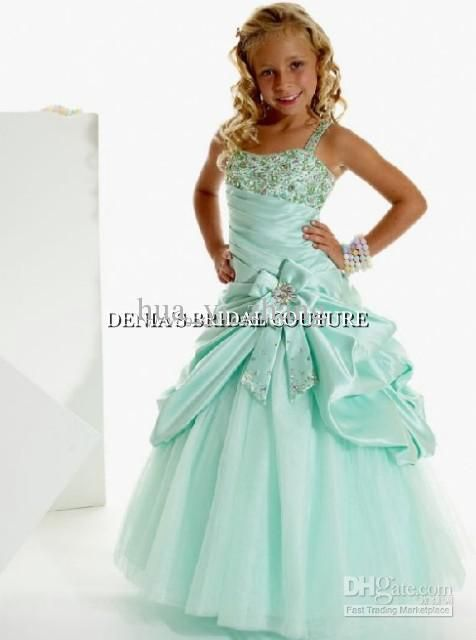 Wholesale Aqua Ball Gown Little Girl Pageant Dresses Princess Beaded Lace Appliques Satin Tulle Party Dress, Free shipping, $89.6-100.8/Piece | DHgate