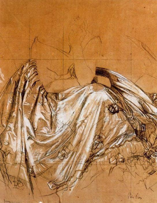 Etude pour le portrait de la baronne Betty de Rothschild, huile de Jean Auguste Dominique Ingres (1780-1867, France)
