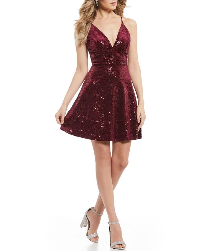 ad26670404a Honey and Rosie Sequin Velvet Bra Back Fit-And-Flare Dress  Dillards ...