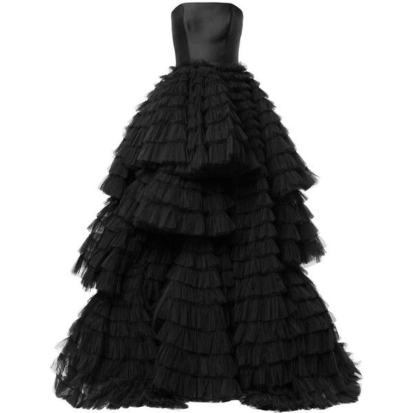 Isabel Sanchis frill-layered flared gown ($9,780) ❤ liked on Polyvore featuring dresses, gowns, black, frilly dresses, layered dress, flouncy dress, ruffle trim dress and flared dress