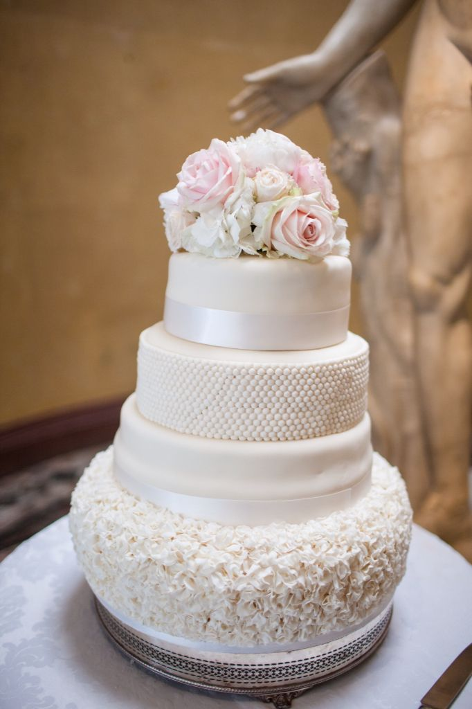 Sweet Avalanche roses and white hydrangea posy cake topper for Woburn sculpture gallery wedding.  Blush and white wedding flowers