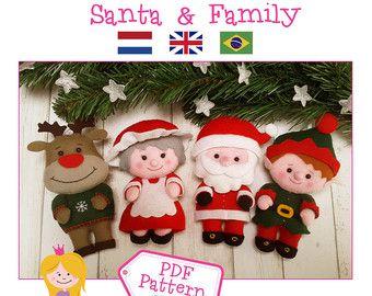 Modèle de PDF. Santa & elfe de Noël ornements modèle. par Noialand