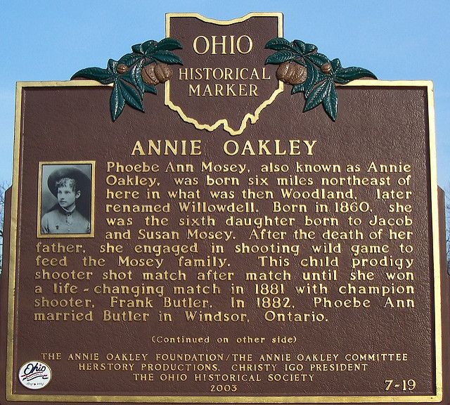 Annie Oakley Ohio Historical Marker side 1