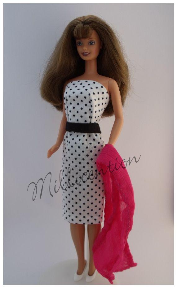 Black and white polka dot Barbie doll sheath dress with stole
