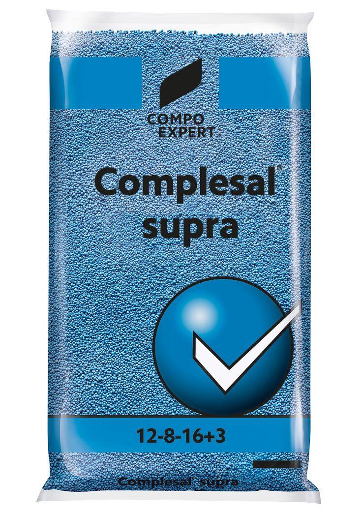 Complesal Supra Σύνθεση: 12-8-16 + 3MgΟ+B+Fe+Zn  Ιδανικό για καλλιέργειες με αυξημένες απαιτήσεις σε όλα τα στοιχεία. Το αυθεντικό γερμανικό λίπασμα Complesal Supra.     Συσκευασίες: σάκοι των 25 και 40 κιλών.
