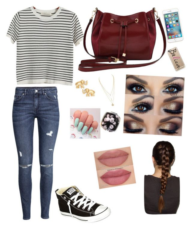 """normal teen/young adult look"" by samanthaxoo on Polyvore featuring Chicnova Fashion, H&M, Converse, M&Co, Casetify and Kate Spade"