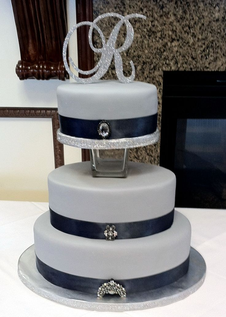 Gray and Navy wedding cake with Bling