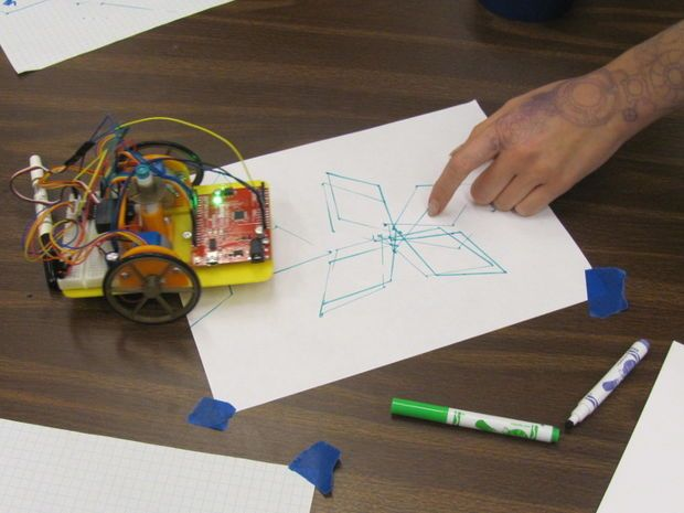 Using an Arduino Drawing Robot with Hour of Code Tutorials