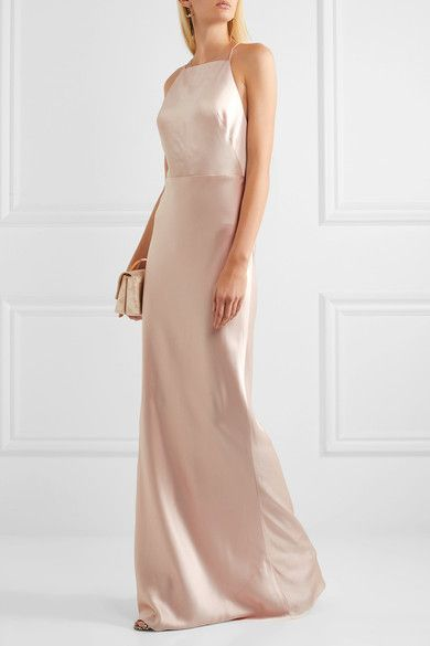 Blush satin gown by Jason Wu. Definitely bringing on the minimalist, Carolyn Bessette-Kennedy vibe.