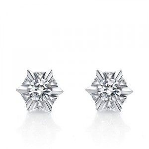 Unique Stud Diamond Earrings on 10K White Gold