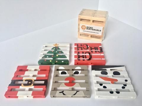 Mini Materials | 25 (Mini) DIYs of Christmas: Miniature Christmas Pallet Coasters