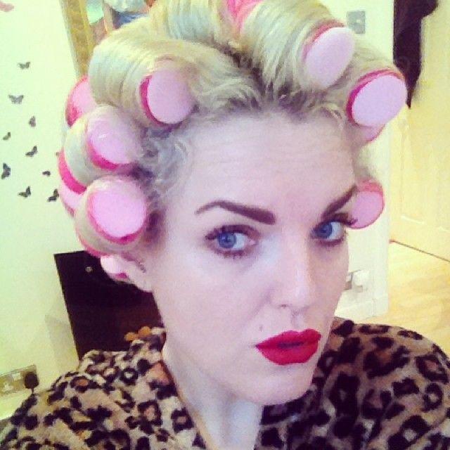 Transgendered in hair rollers