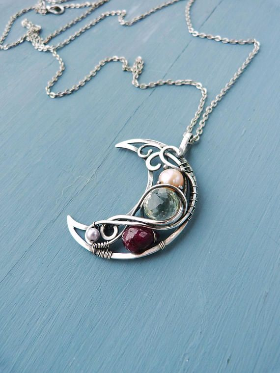 Ruby and Amethyst Multi-stone silver necklace Moon shape - wire wrapped silver pendant - romantic jewelry - luxury classic jewelry.