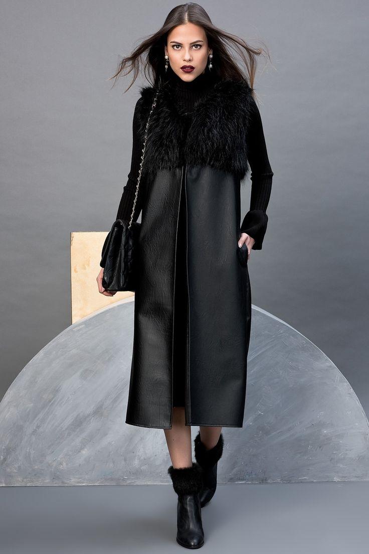 Kadın Siyah Deri Görünümlü Kürklü Yelek Cool & Sexy | Trendyol