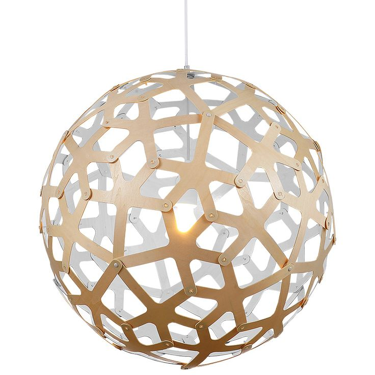 Replica David Trubridge Coral Pendant Paint White | Globe Down Facing Geometric natural Wood Pendant with a White Finish on the inside.  Buy now: http://lighting.co.za/ceiling/replica-david-trubridge-coral-pendant-paint-white/