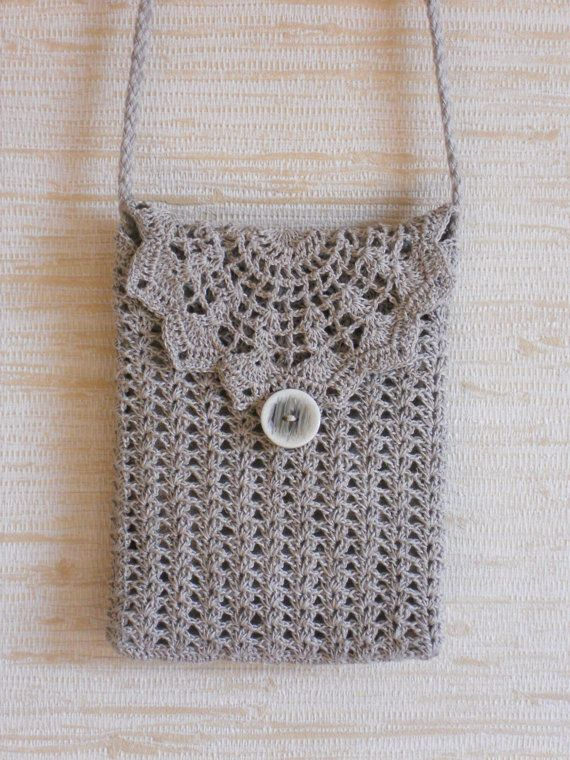 Traveller purse crochet natural linen gray shoulder by chiffonart, $24.00