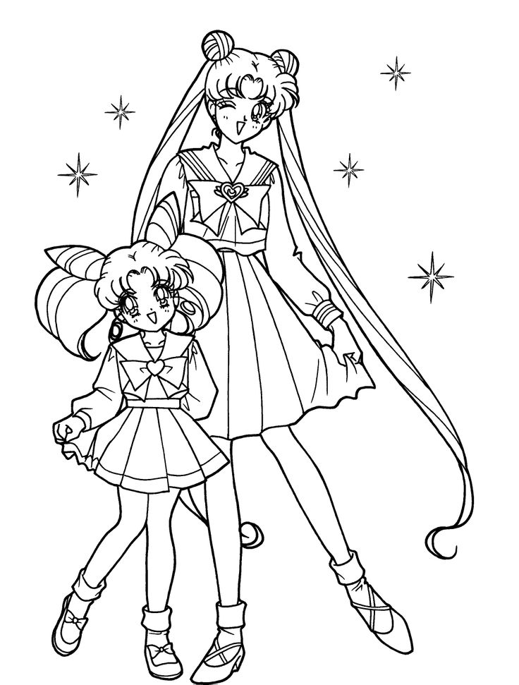 Sailor Moon With Sister Coloring