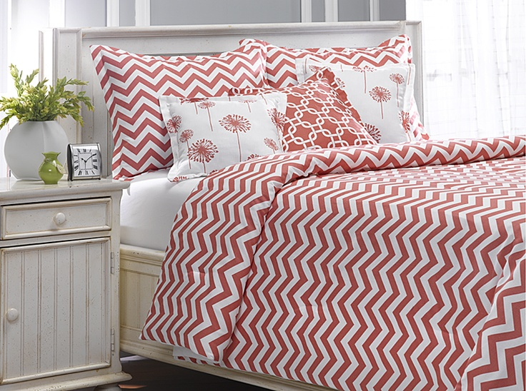 New Coral Chevron with Dandelion and Metro Pillows.  Love it!  http://www.amdorm.com/p/656/coral-chevron-bedding-sets-made-in-usa