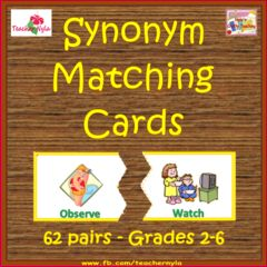 I'm giving away Synonyms this week only!! Enter for your chance to win 1 of 8. Synonyms - Matching Activity  (38 pages) from NylasCraftyTeaching on TeachersNotebook.com (Ends on on 07-27-2015) This Synonym matching center could end up in your class this year! It's worth a shot so see if it'll have your name on it....