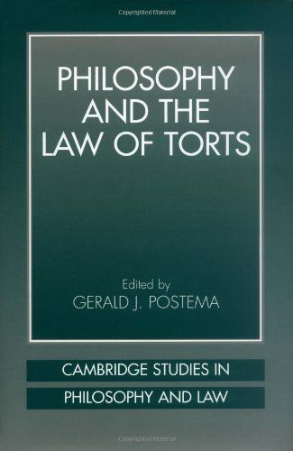 Philosophy and the Law of Torts (Cambridge Studies in Philosophy and Law). 348 Pages. When accidents occur and people suffer injuries, who ought to bear the loss? Format: Kindle eBook. Production by: (Editor) Gerald J. Postema. This collection will be of interest to professionals and advanced students working in philosophy of law, social theory, political theory, and law, as well as anyone seeking a better understanding of tort law. Tort law offers a complex set of rules to answer...