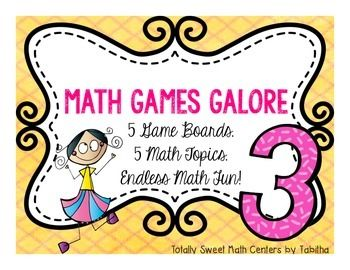 Math Games Galore is the most versatile center you'll ever use!  - Students choose one of 5 themed game boards  - You choose one of 5 math concept decks of cards, based upon the needs of the students - Students play a board game and practice important math concepts!  ** send these games home for extra practice!