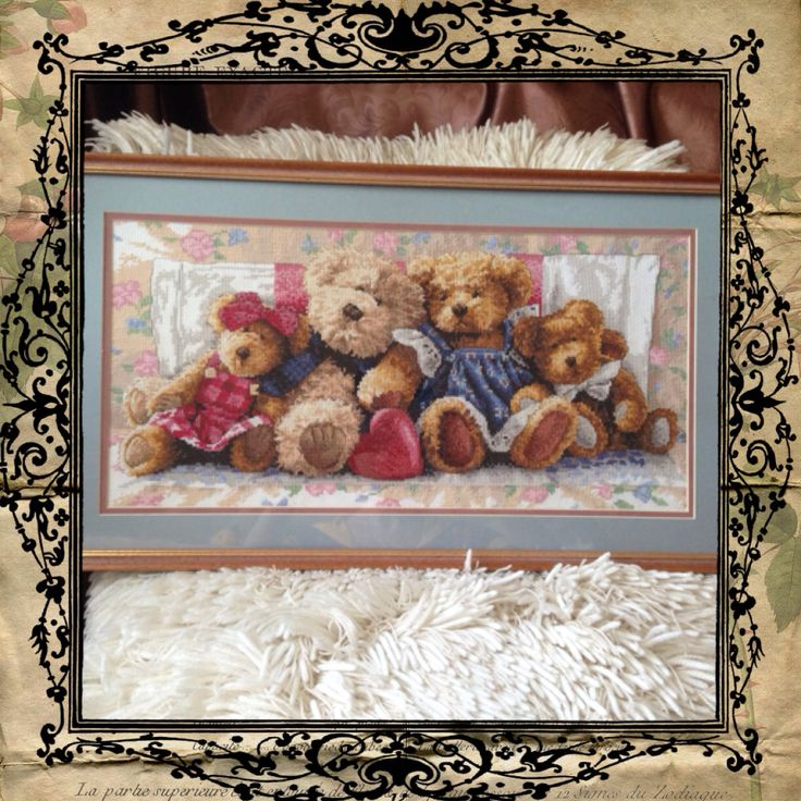 While waiting for the daughter! Lovely bears for her room. Cross stitching.