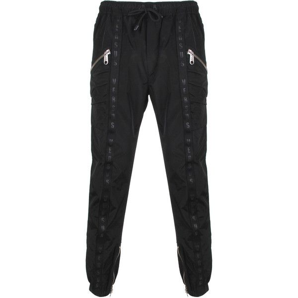 Versus Versace Tape Trousers ($650) ❤ liked on Polyvore featuring men's fashion and men's clothing