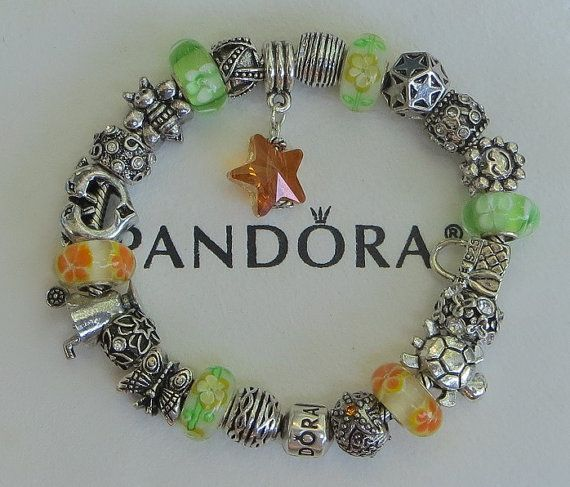 """Tropical~Citrus Authentic Pandora Sterling Silver Bracelet, Receipt, Gift Box, 23 European Beads/Charms  """"FREE Shipping, FREE Grab-Bag"""""""