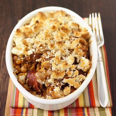 """Sausage and Bean Casserole - Freezer Meal (Review:  It was...""""meh.""""  It would be better to find an alternative to the bread or just leave it out altogether to have more of a soup dish and then I think it would be really good.  I probably won't make this again.)"""