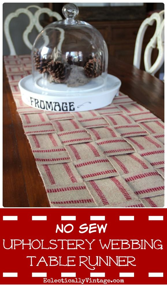How to make a no sew upholstery webbing jute table runner - I love this! eclecticallyvintage.com