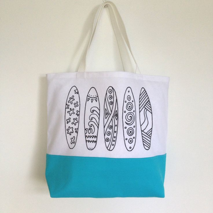 Colouring In Surfboard Themed Tote Bag | Black & White Tote Bag | Gifts for Mum or Grandma | Gifts for Kids | Kids Craft Activity by SimplyAddColour on Etsy